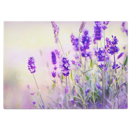 Lavender Flowers Tempered Glass Chopping Board
